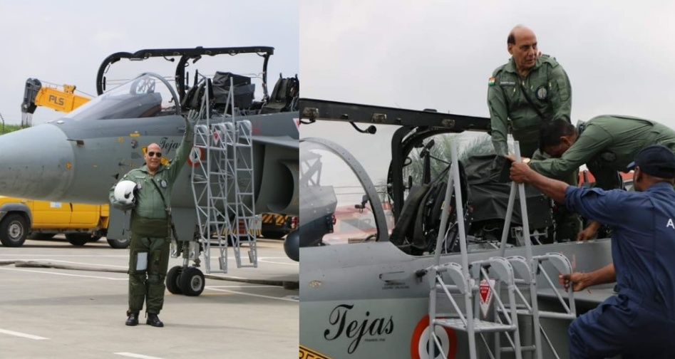 Image result for rajnath singh fly with tejas